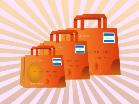 colorful shopping bags made of credit cards Stock Photo - 14909099