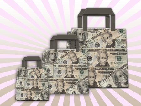 colorful shopping bags made of dollars Stock Photo - 14909139