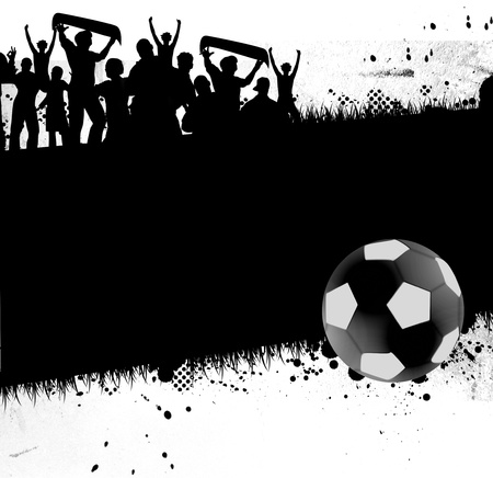 greenfield: Soccer ball  football  with silhouettes of fans