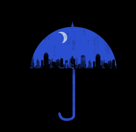 nochebuena: noche de la ciudad bajo el paraguas Foto de archivo