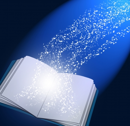 Magic book with lights and stars lighting it up  photo
