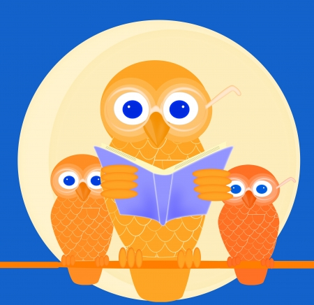 Wise mother owl reading a book to her children photo