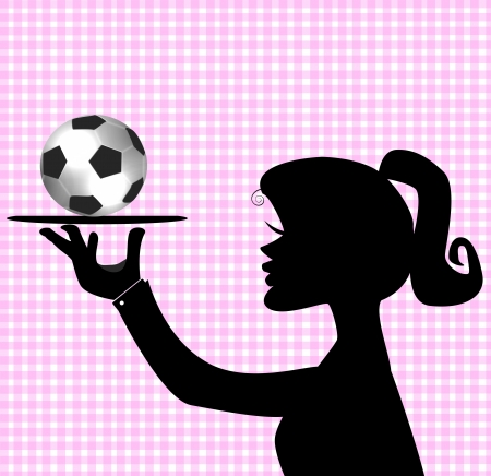 cleats: Silhouette of a female soccer player holding a ball  Stock Photo