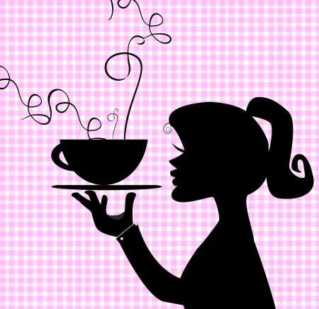 spice cake: girl holding a smoking plate isolated on plaid background