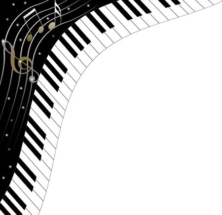 octave: Music text frame piano keys
