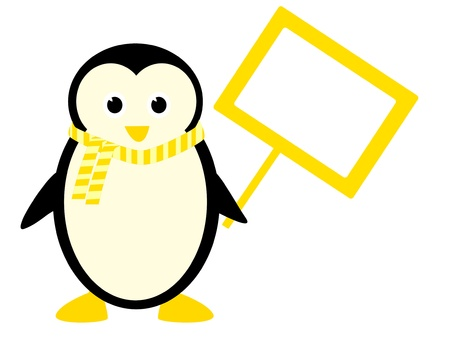 iciness: cute penguin holding a sign with place for text