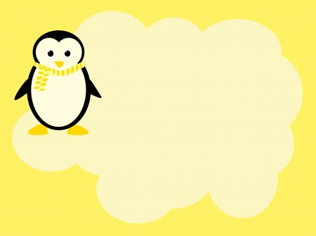 iciness: cute penguin background with place for text Stock Photo