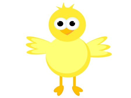 Illustration of a cute happy little yellow chick with its wings outstretched