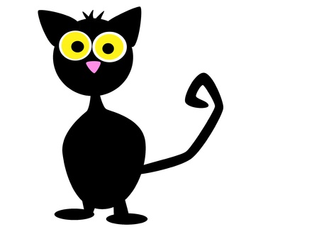 cute black cat for halloween isolated on white background Stock Photo - 15518764