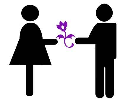 couple with flower-shaped silhouette icon photo