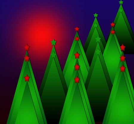 Simple green and glossy Christmas tree isolated on background photo