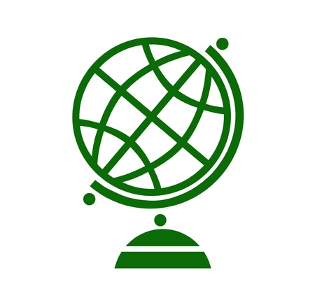 globe icon: Geography earth globe icon in green color