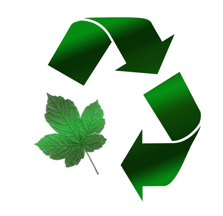 Recycle Symbol, Isolated On White Background with green leaf shape photo