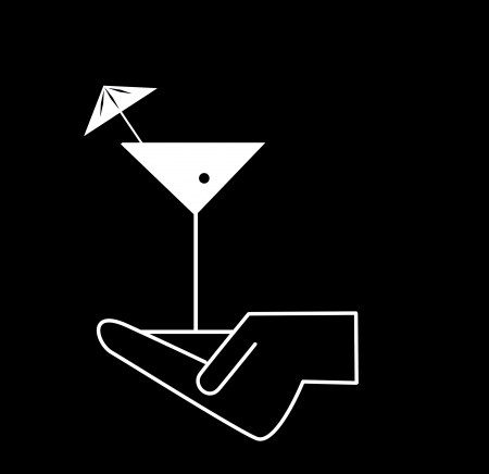 cocktails in hand icons - waiter s hands with orders photo