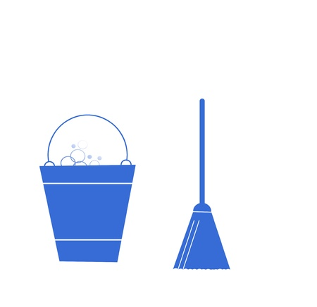 besom: Sweeping Broom and bucket, cleaning icons