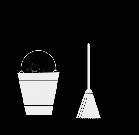 scrubs: Sweeping Broom and bucket, cleaning icons