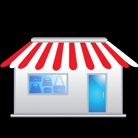 icon of the facade of a shop store and bags in it Stock Photo - 17256702