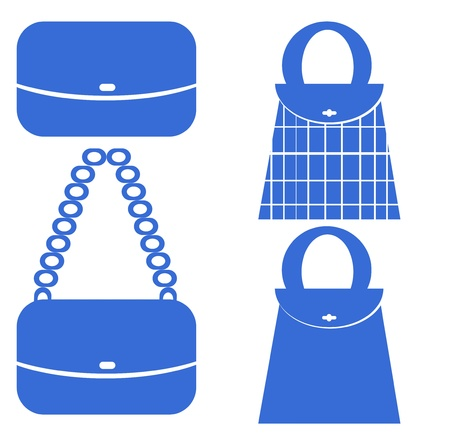 blue red Shopping bag icons set  photo