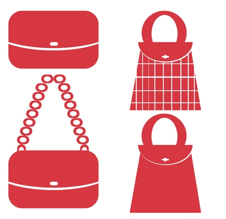 red Shopping bag icons set  photo