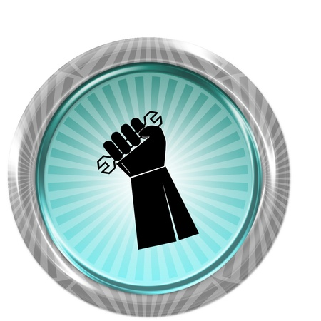 illustration of icon isolated in a modern style, depicting a hand holding a wrench on button shape  Stock Photo