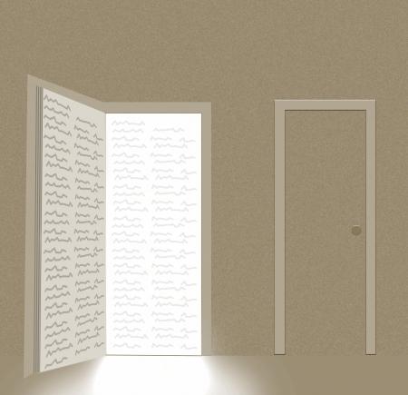 gain access: book in shape of open door Stock Photo