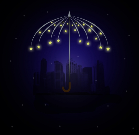 city night under the umbrella made of stars photo