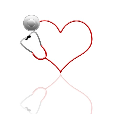 stethoscope in shape of heart, isolated on white photo