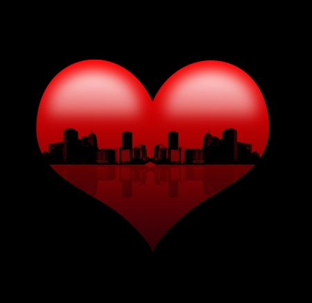 heart of the city,Red heart with silhouette of abstract town - dark background photo