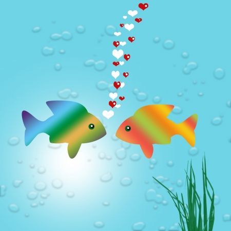 gold fish bowl: gold fish in love Stock Photo