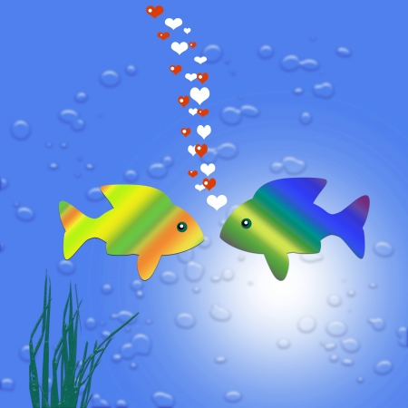 gold fish in love Stock Photo - 17801985