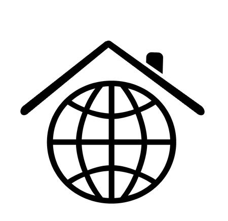 planet place to live on concept, globe icon as house shape  photo