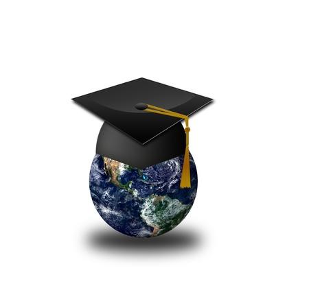 alumnae: Master s cap for graduates in the globe  Stock Photo