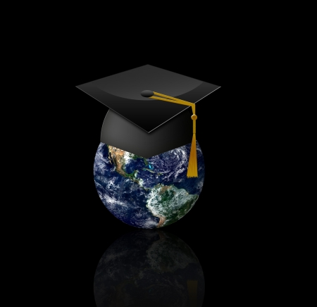 alumnae: Master s cap for graduates in the globe - Elements of this image furnished by NASA