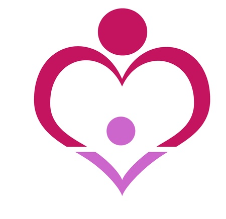 family, love symbol, hug stylized in simple lines in heart shape, mothers day, Stock Photo - 18157394