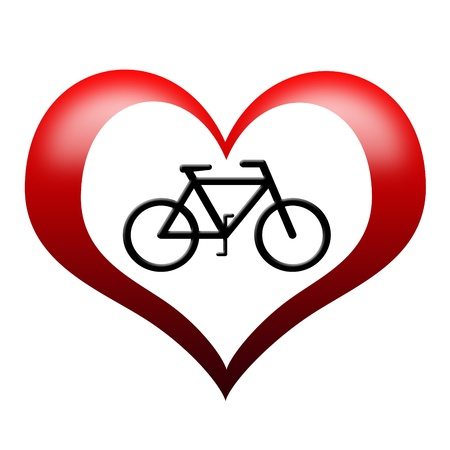 Bicycle Icon in heart shape  photo