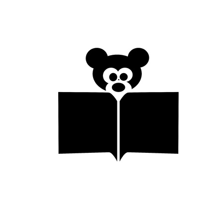 bear reading a book icon  photo