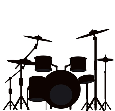 drum and bass: illustration of a drum kit  Stock Photo