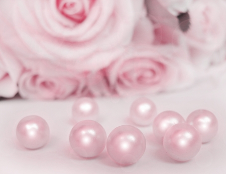 Beautiful soft pink rose with pearls  photo