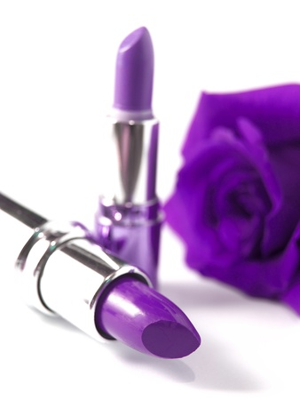 purple lipsticks and purple rose Stock Photo - 19812012