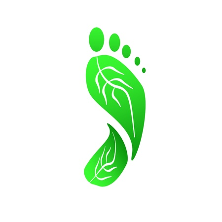 Green leaves footprint   Eco Friendly illustration illustration
