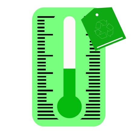 hotness: ecological thermometer with green label for recycling  Stock Photo