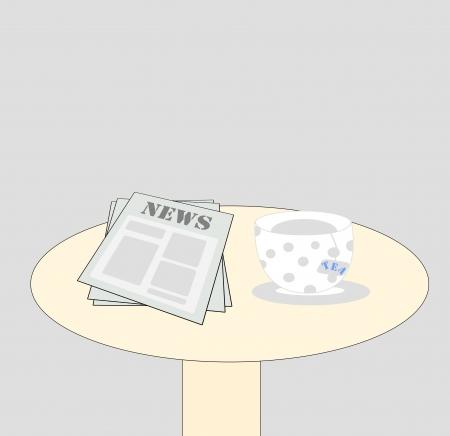news and tea on the table photo