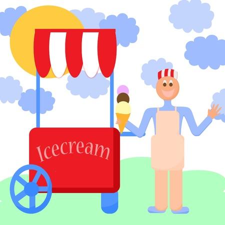 carretto gelati: carrello di stallo e un gelato, ice cream cavalletto, ragazzo di vendita di gelato