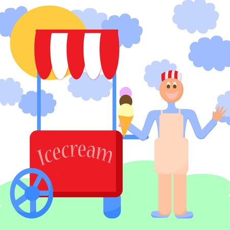 cart stall and a ice cream, ice cream stand,boy selling ice cream photo