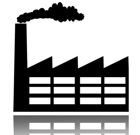 bedrijfshal: De industriële bouw fabriek en energiecentrales icon Stockfoto