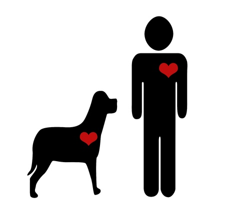 Black figure icon walking a dog  photo