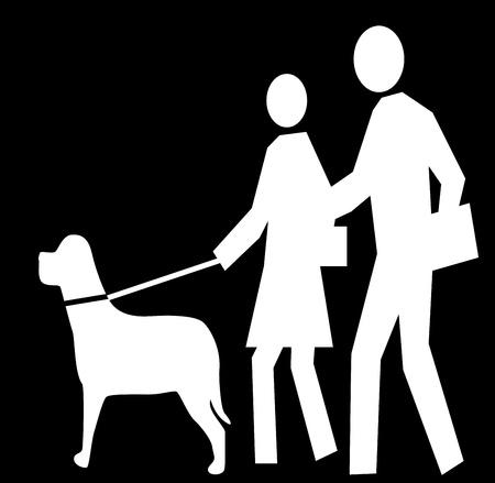Black figure icon walking a dog Stock Photo - 20757814