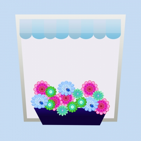 window with flowers shaped greeting card background Stock Photo - 21107649