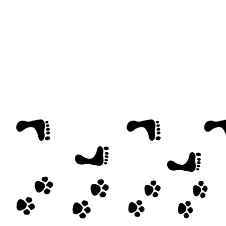 track pad: dog and man footprints