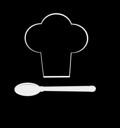 Silhouette of chef holding serving tray